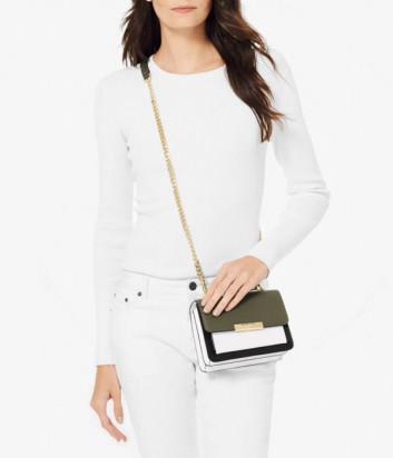 Кожаная сумка Michael Kors Jade Eхtra-Small с откидным клапаном черно-оливковая