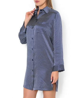 Шелковая сорочка Luna di Seta L6D8536 синяя с принтом