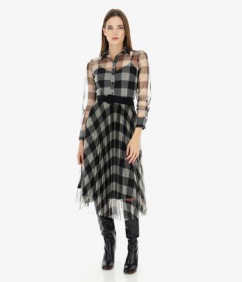 Платье Imperial A9S0YNV принт клетка черное