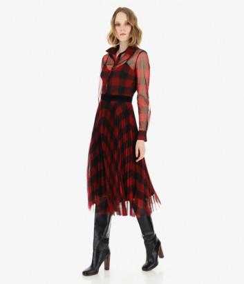 Платье Imperial A9S0YNV принт клетка красное