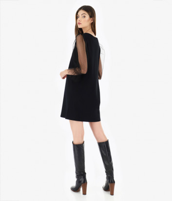 Платье Imperial A9S6YAG с прозрачными рукавчиками черное