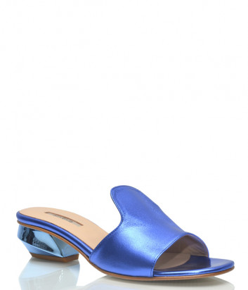 Кожаные мюли Nila & Nila 1347 на фигурном каблуке синие