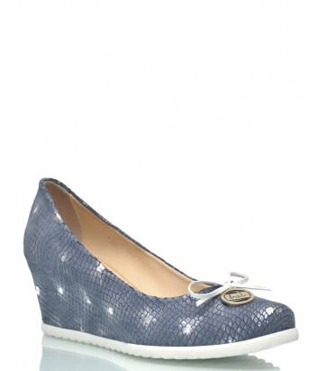 Кожаные туфли Lab Milano 588 на скрытой танкетке синие с принтом
