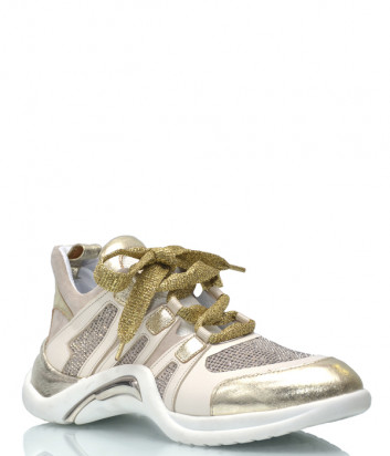 Кожаные кроссовки Lab Milano 15202 золотисто-бежевые