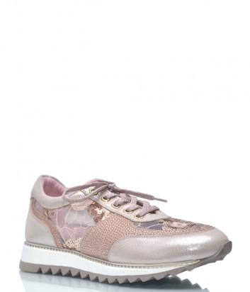 Кожаные кроссовки Lab Milano 33302 розовые с декором