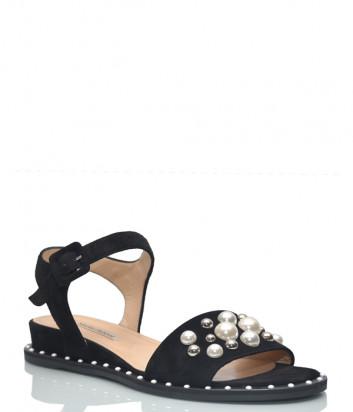 Замшевые сандалии Marino Fabiani 3508 черные с декором