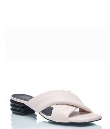 Кожаные мюли Renzi 561802 на фигурном каблуке розовые