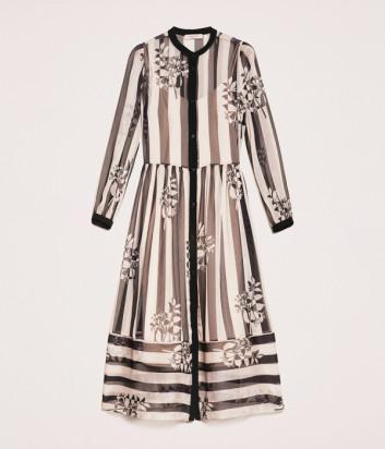 Длинное платье TWIN-SET 201TP2300 в полоску и цветочный принт