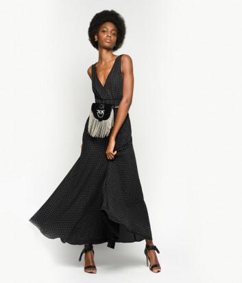 Длинное платье PINKO 1B14H4 черное в россыпи кристаллов