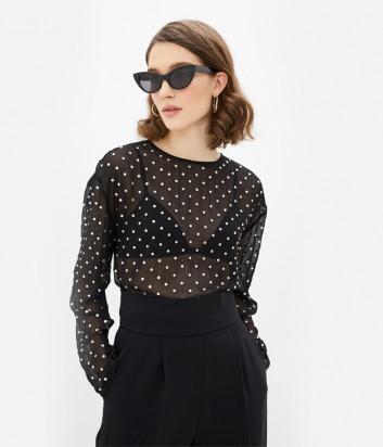 Черная блуза PINKO свободного кроя в россыпи кристаллов
