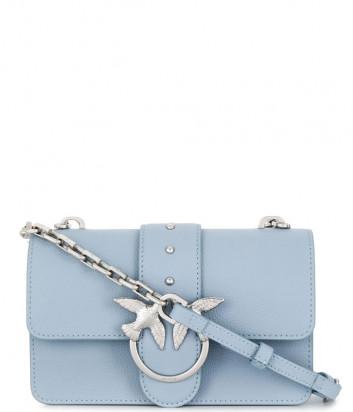 Кожаная сумка PINKO Love Bag 1P21M0 голубая с серебристой фурнитурой