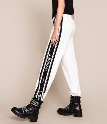 Белые брюки TWIN-SET 201TP2072 с контрастными жаккардовым вставками