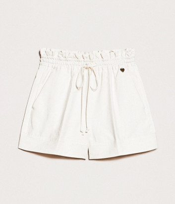 Белые шорты TWIN-SET 201TP2255 из смеси льна и хлопка