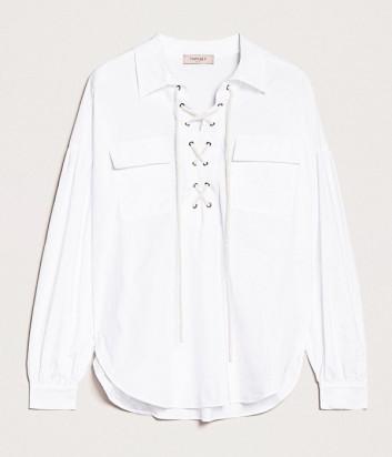 Белая рубашка TWIN-SET 201TP2520 с декоративной шнуровкой