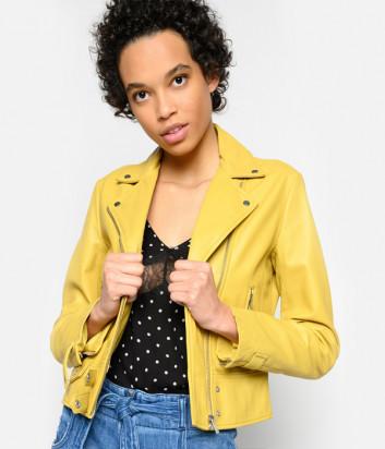 Кожаная байкерская куртка PINKO 1G14YLY желтая