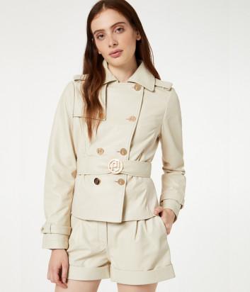 Короткий кожаный тренч-куртка Liu Jo PA0050P0336 кремовый