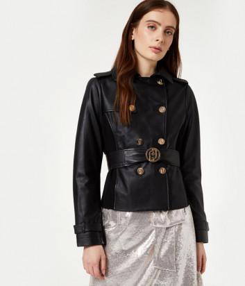 Короткий кожаный тренч-куртка Liu Jo PA0050P0336 черный