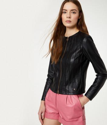 Кожаная куртка Liu Jo PA0052P0336 на молнии черная