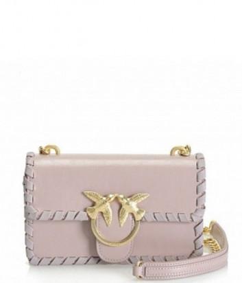 Кожаная сумка PINKO Mini Love Twist лиловая с золотой фурнитурой