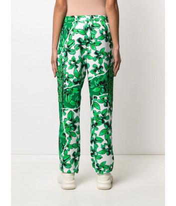 Брюки ICEBERG B1515277 с зеленым цветочным принтом и накладными карманами