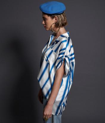Белая блуза ONE TEASPOON 22734 в синюю полоску