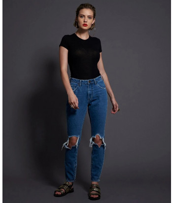 Зауженные джинсы ONE TEASPOON 22594 с рваными коленями синие