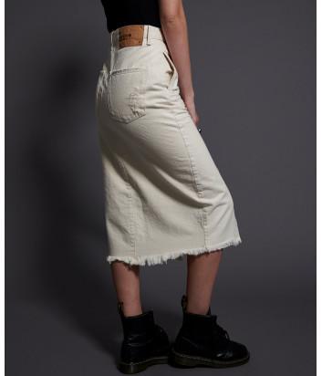Джинсовая юбка ONE TEASPOON 22663 с разрезом кремовая