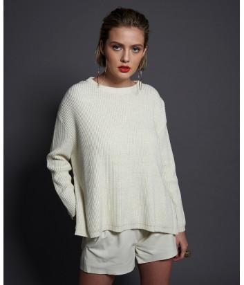Кремовый свитер ONE TEASPOON 22846 с разрезами по бокам
