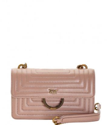Сумочка на цепочке PINKO Mini Love Bag 1P21GTY в стеганной коже бежевая