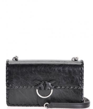 Сумка на цепочке PINKO Love Bag Twist 1P21E8Y5 в черной коже с серебристой фурнитурой