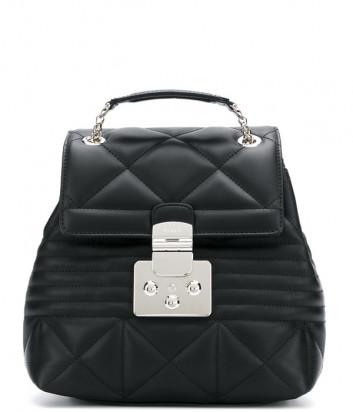 Черный рюкзак Furla Fortuna 988337 в стеганной коже с серебристой фурнитурой