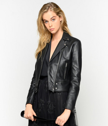 Кожаная байкерская куртка PINKO 1G14YLY черная