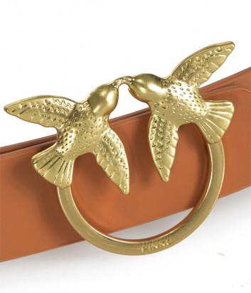 Узкий кожаный ремень PINKO Love Birds рыжий с золотой фурнитурой