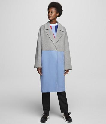 Двухцветное пальто KARL LAGERFELD 201W1500 серо-голубое