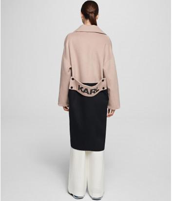 Двухцветное пальто KARL LAGERFELD 201W1500 черно-бежевое