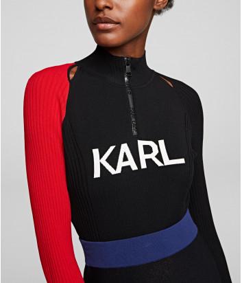 Черный свитер KARL LAGERFELD 201W2007 с красным рукавом и логотипом