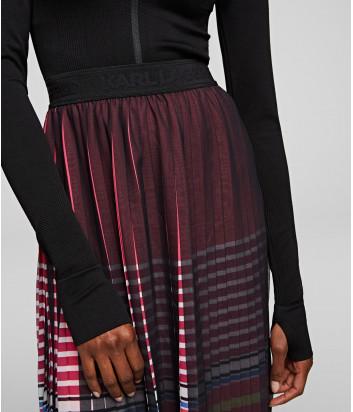 Плиссированная юбка миди KARL LAGERFELD 201W1200 с полосками и логотипом