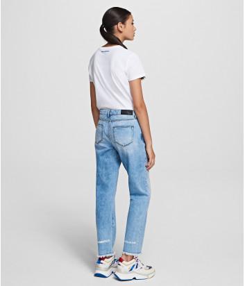 Классические прямые джинсы KARL LAGERFELD 201W1101 голубые с логотипом