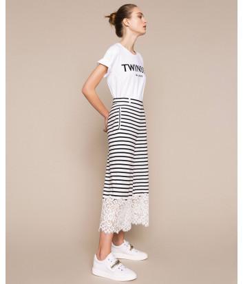 Полосатый костюм TWIN-SET 201TP2470-73 с кружевом