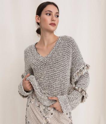 Пуловер TWIN-SET 201TP3162 с рукавами декорированные бахромой