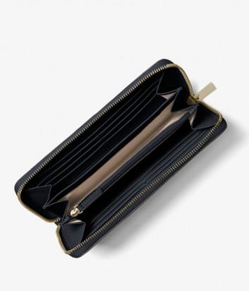 Кожаное портмоне Michael Kors Jet Set на молнии темно-синее с золотой фурнитурой