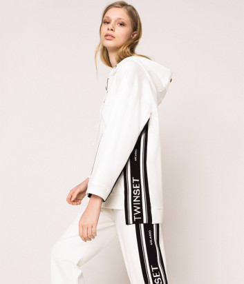 Белый костюм TWIN-SET 201TP2070/72 с контрастными жаккардовым вставками