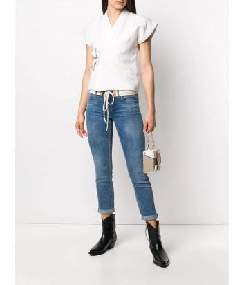 Укороченные джинсы скинни Liu Jo UA0006D4457 синие с белым ремнем