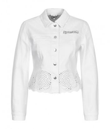 Джинсовая куртка Sportalm 939206864 белая с цветочным принтом