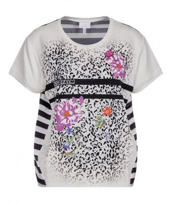 Белый топ Sportalm 939013858 в полоску с ярким цветочным принтом