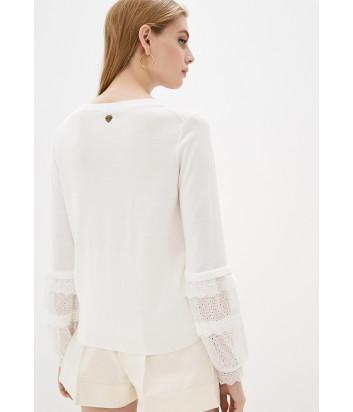 Блуза TWIN-SET 201TP3040 с кружевом на рукавах белая