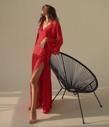 Длинный халат Suavite Аврора красный