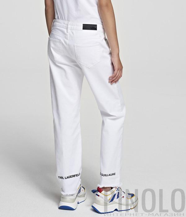 Прямые джинсы KARL LAGERFELD 201W1104 с необработанными краями белые