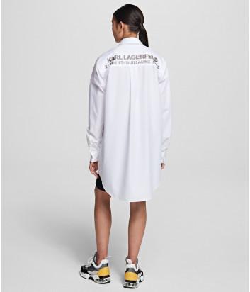 Платье-рубашка KARL LAGERFELD 201W1605 oversize белая с декором