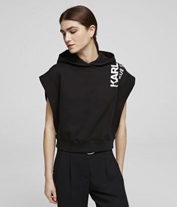 Худи без рукавов Karl Lagerfeld 201W1851 черное с логотипом